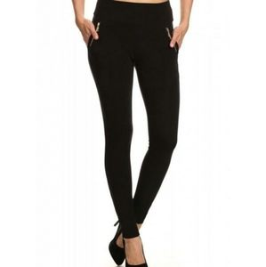Black Pull On Pants With Gold Zippered Pockets
